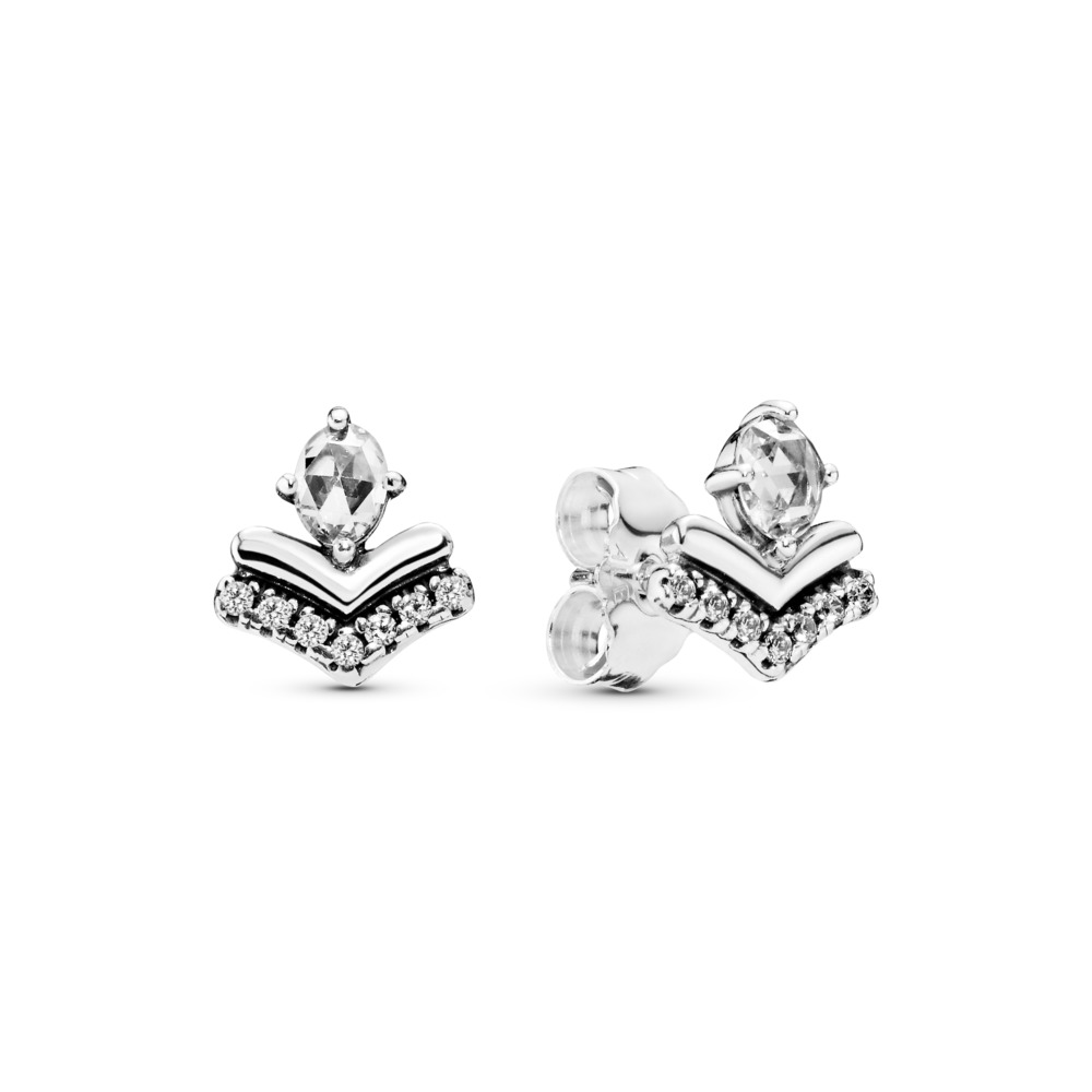 Classic Wishes Stud Earrings, Sterling silver, Cubic Zirconia - PANDORA - #297787CZ