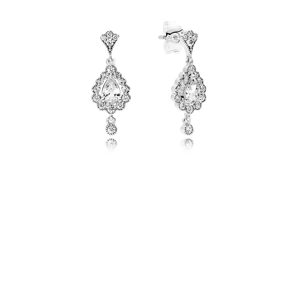 Heraldic Radiance Earrings, Clear CZ