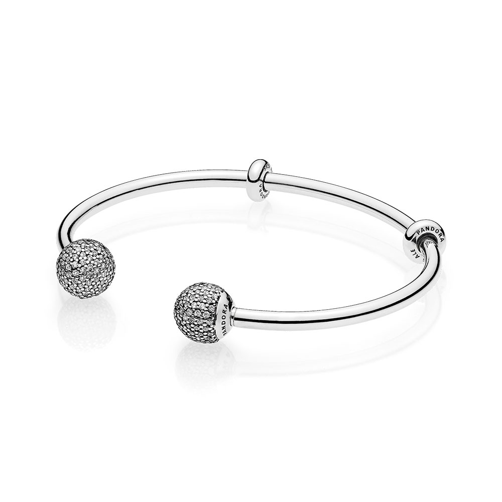 Open Bangle, Clear CZ