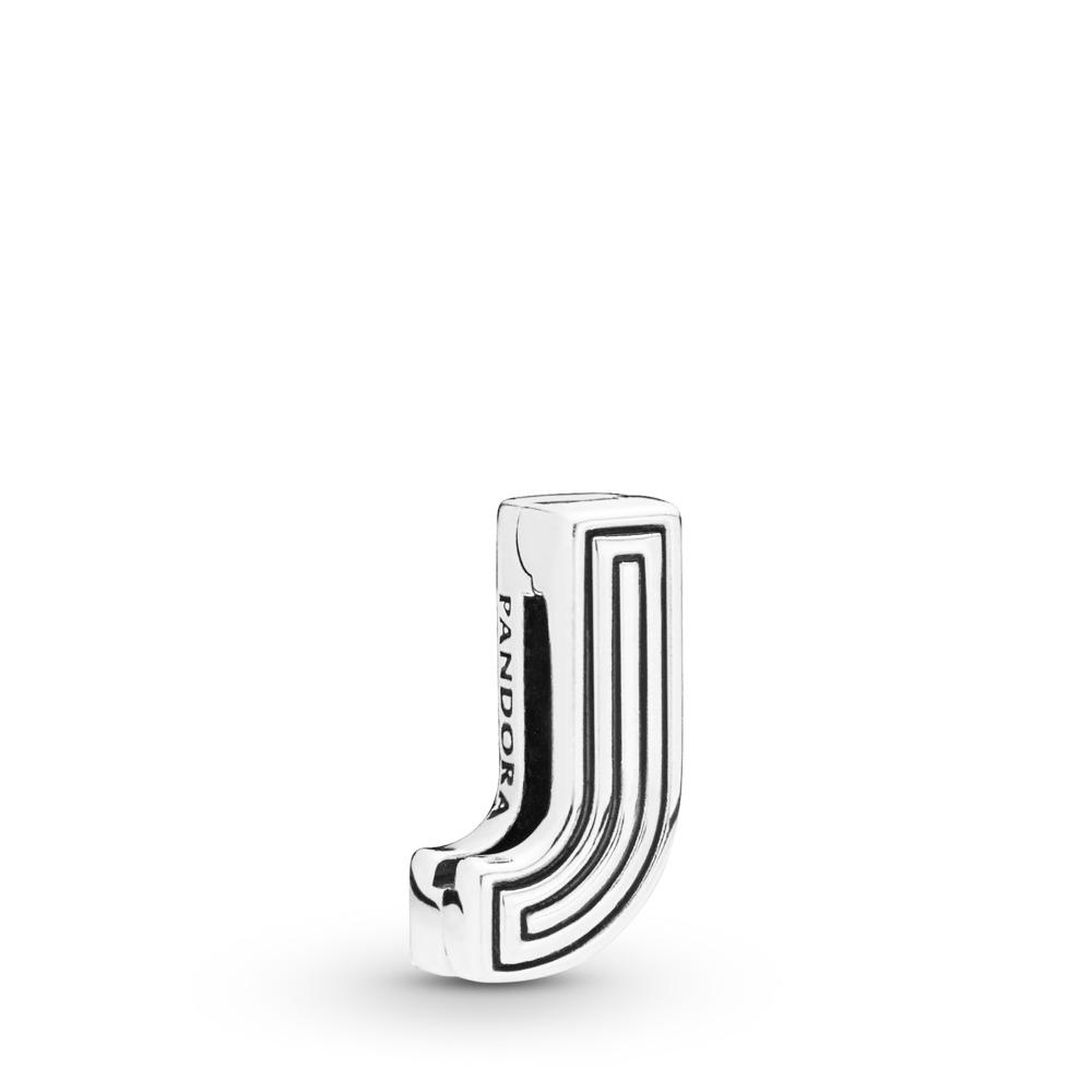 Charm Lettre J Pandora Reflexions, Argent sterling, Silicone, Aucune couleur, Aucune pierre - PANDORA - #798206