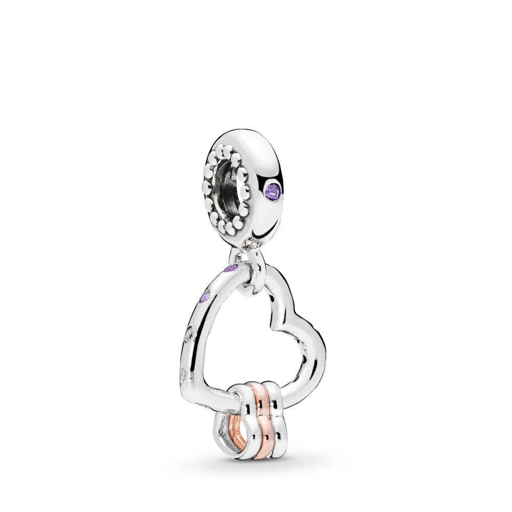 Heart Highlights Dangle Charm, Lilac & Royal Purple Crystals & Clear CZ, PANDORA Rose with sterling silver, Purple, Mixed stones - PANDORA - #787247NLCMX