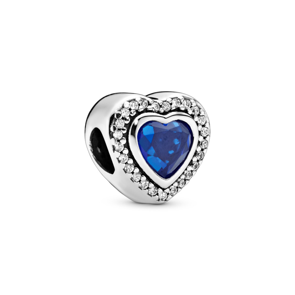 Sparkling Love Charm, Sterling silver, Blue, Mixed stones - PANDORA - #797608NANB