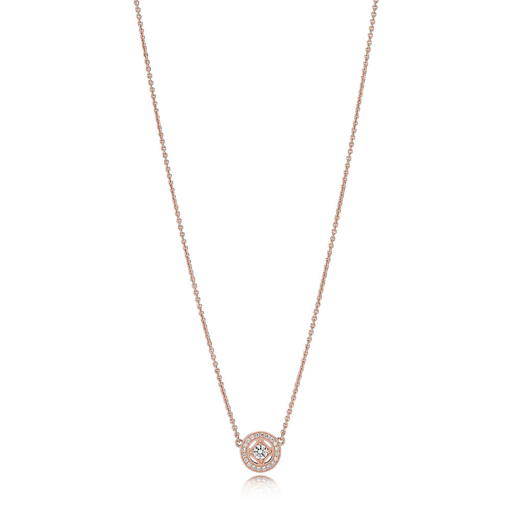 Vintage Allure Necklace, PANDORA Rose™ & Clear CZ