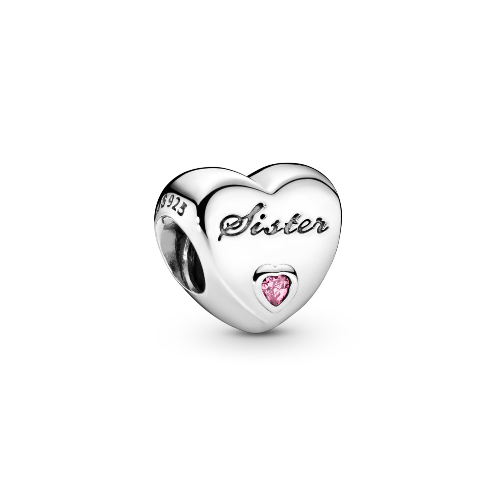 Sister's Love, Pink CZ, Sterling silver, Cubic Zirconia - PANDORA - #791946PCZ