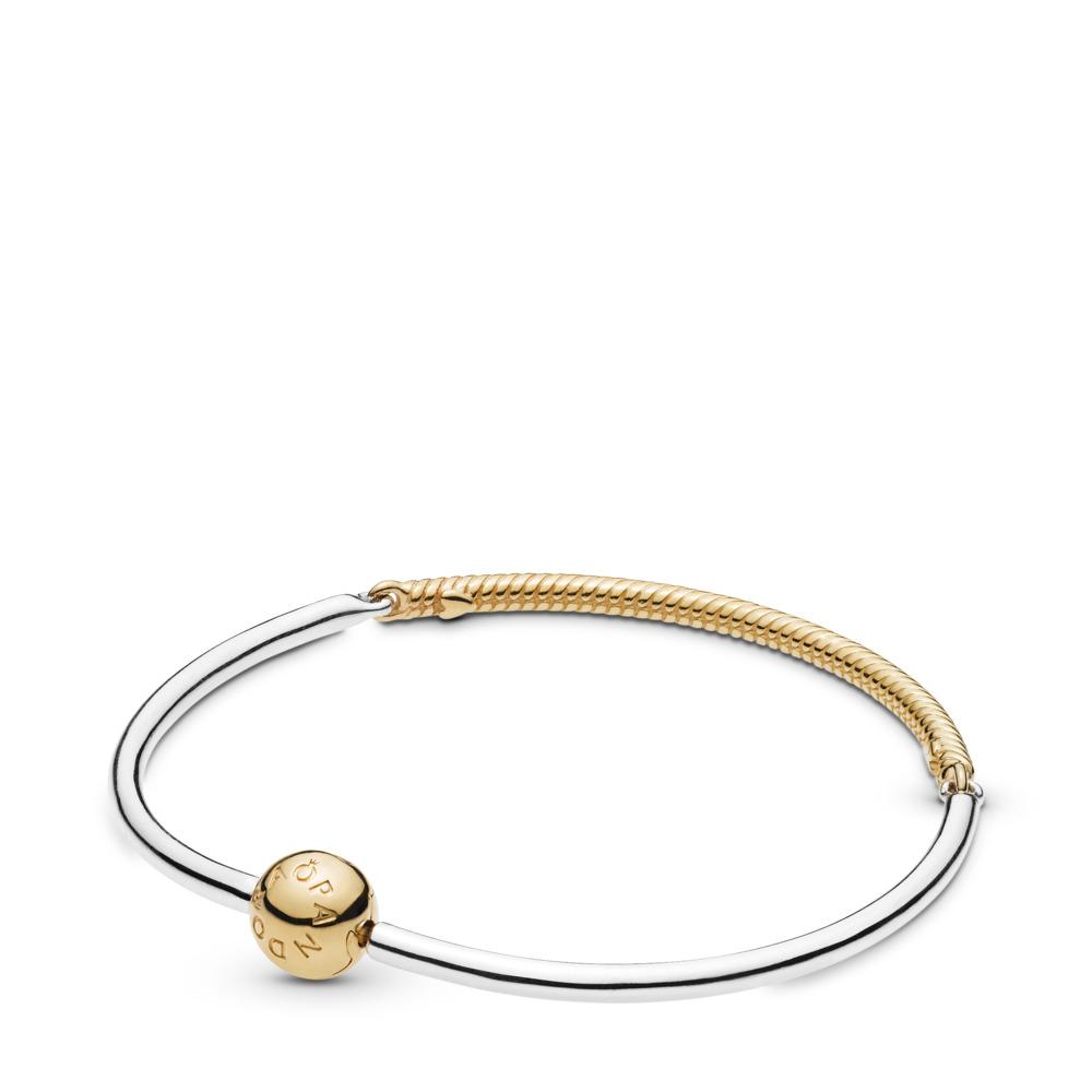 Bracelet rigide de charms Momentsà trois maillons, PANDORA Shine and sterling silver, Aucun autre matériel, Aucune couleur, Aucune pierre - PANDORA - #568143