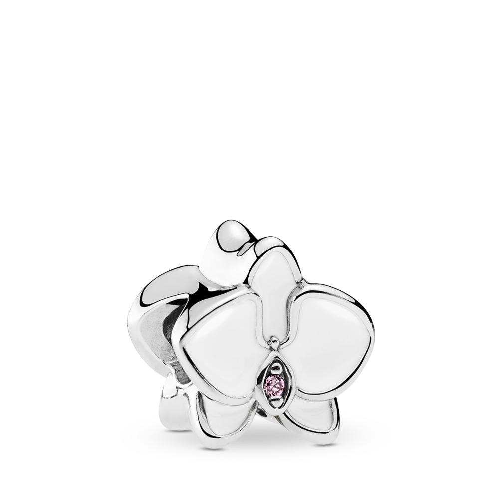 Orchidée, émail blanc et cz orchidée, Argent sterling, émail, Rose, Zircon cubique - PANDORA - #792074EN12