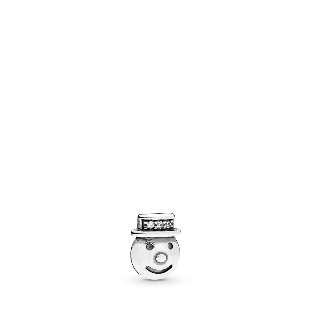 Happy Snowman Petite Charm, Clear CZ, Sterling silver, Cubic Zirconia - PANDORA - #796383CZ
