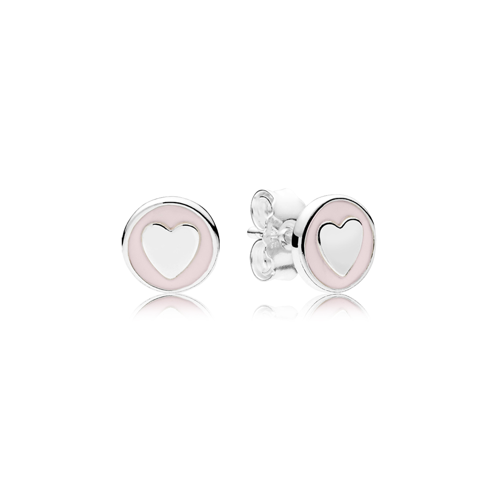 Sweet Statements Stud Earrings, Pale Pink Enamel