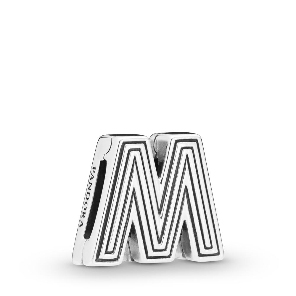 Charm Lettre M Pandora Reflexions, Argent sterling, Silicone, Aucune couleur, Aucune pierre - PANDORA - #798209