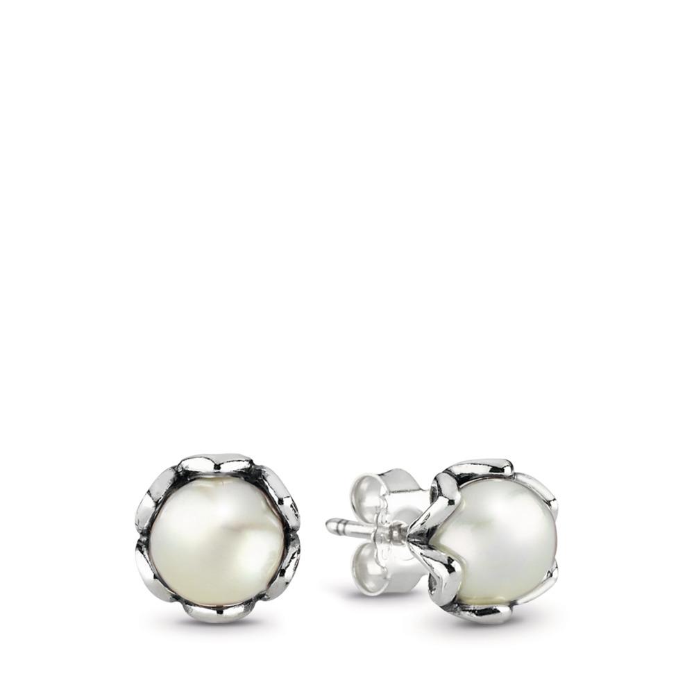 Élégance moirée, perle blanche, Argent sterling, Aucun autre matériel, Blanc, Perle de culture d'eau douce - PANDORA - #290533P
