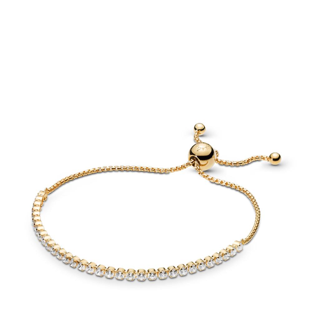 Sparkling Strand Bracelet, PANDORA Shine™ & Clear CZ, 18ct gold-plated sterling silver, Silicone, Cubic Zirconia - PANDORA - #560524CZ