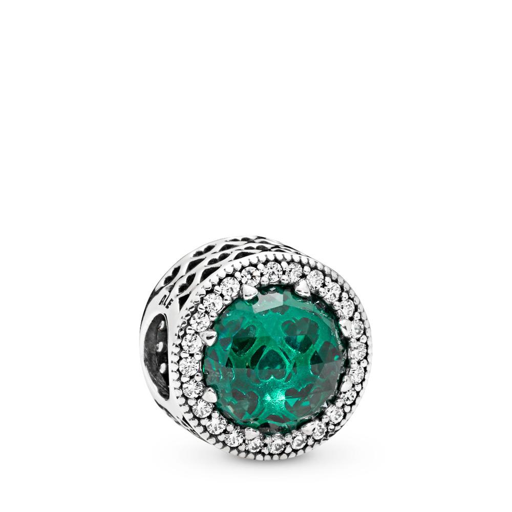 Charm Cœurs radieux, cristaux vert de mer et cz incolore, Argent sterling, Aucun autre matériel, Vert, Pierres mélangées - PANDORA - #791725NSG