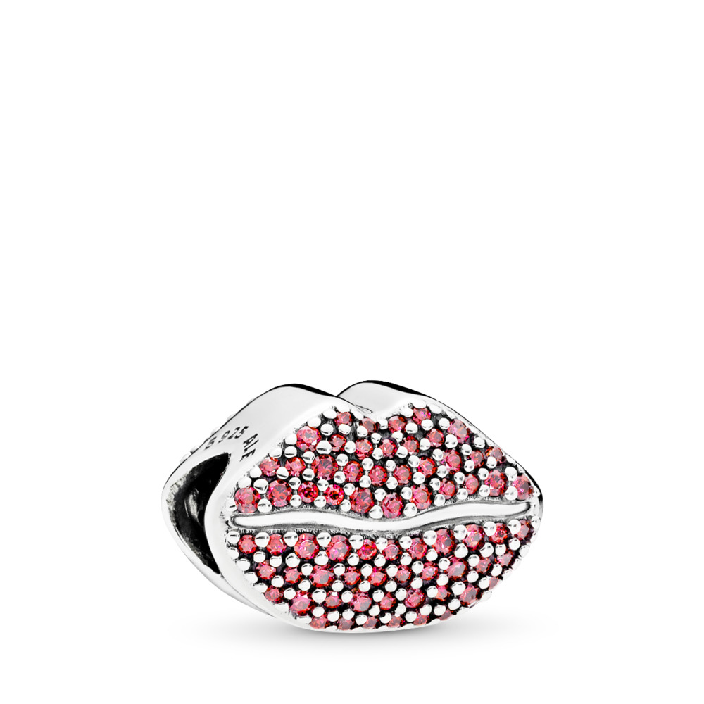 Kiss More Charm, Red CZ, Sterling silver, Red, Cubic Zirconia - PANDORA - #796562CZR