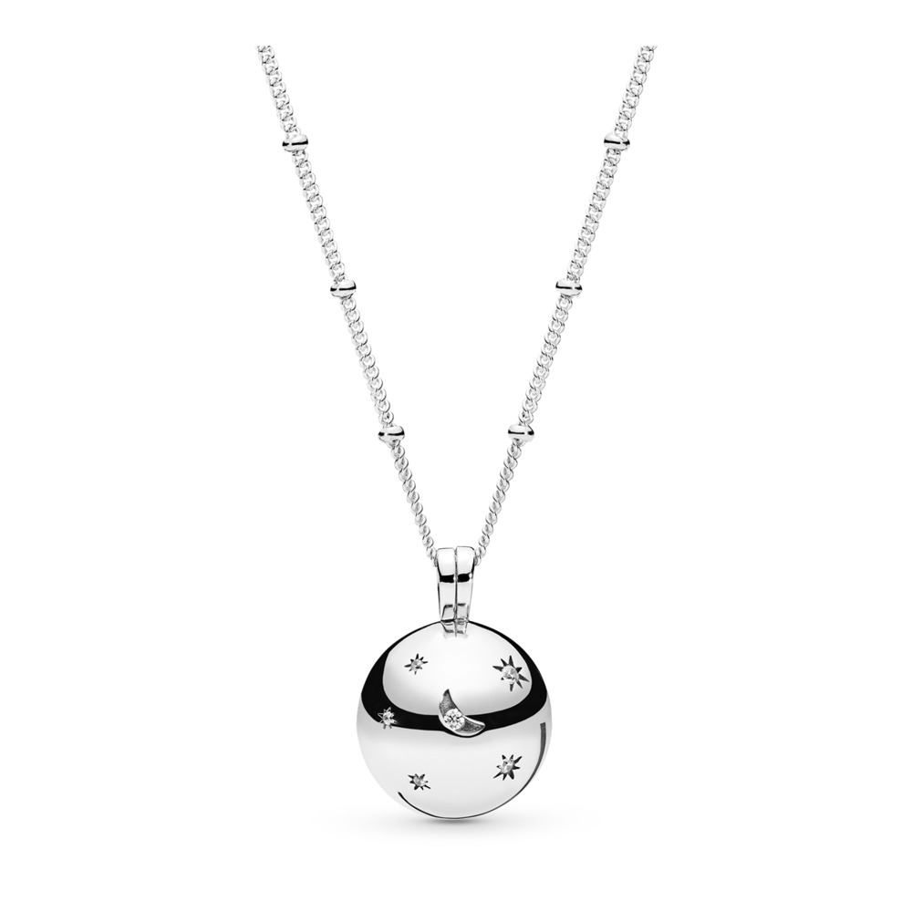 Moon and Stars Necklace, Sterling silver, Cubic Zirconia - PANDORA - #397537CZ