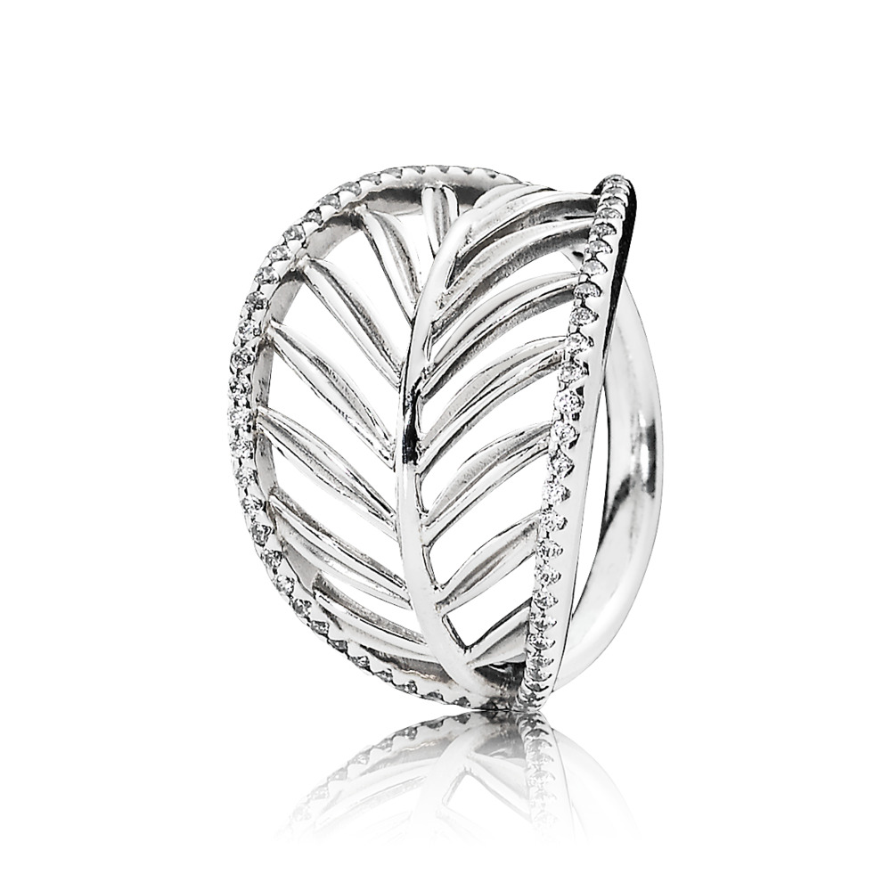 Tropical Palm Leaf Ring, Clear CZ, Sterling silver, Cubic Zirconia - PANDORA - #190952CZ