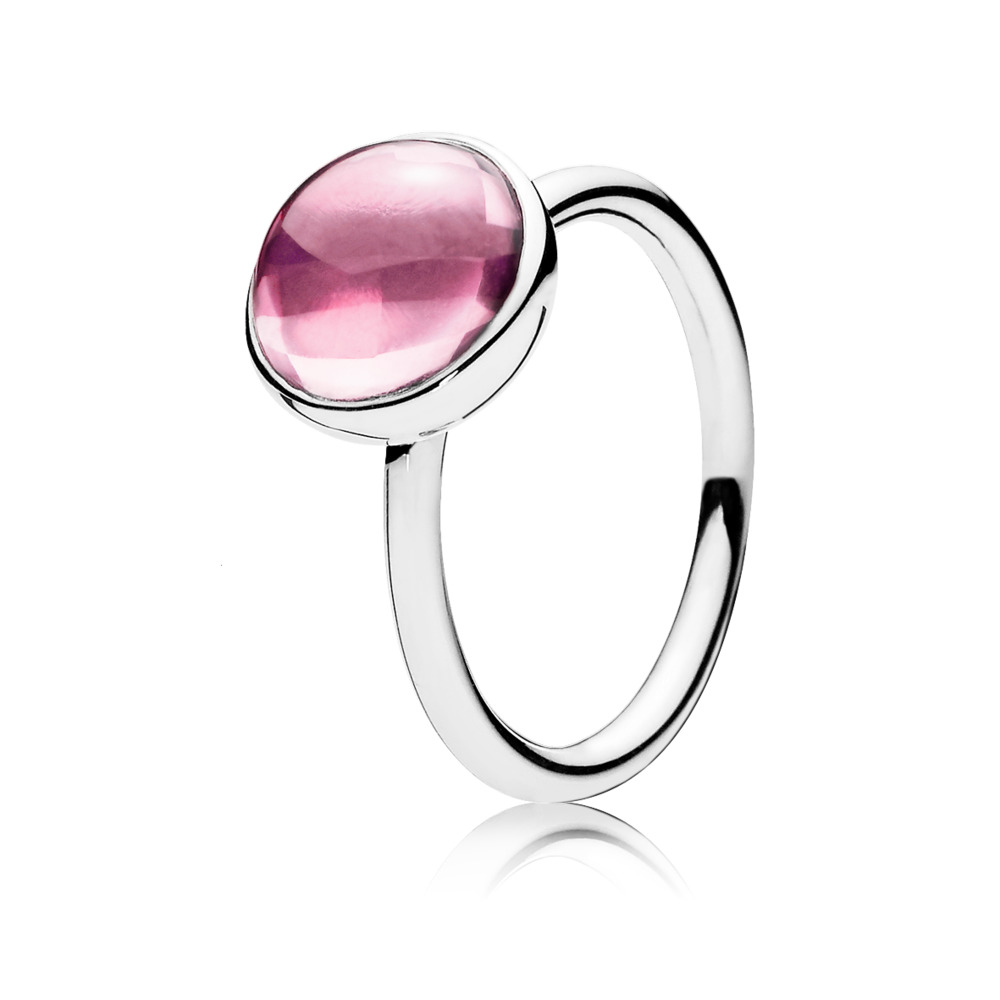 Poetic Droplet, Pink CZ, Sterling silver, Pink, Cubic Zirconia - PANDORA - #190982PCZ