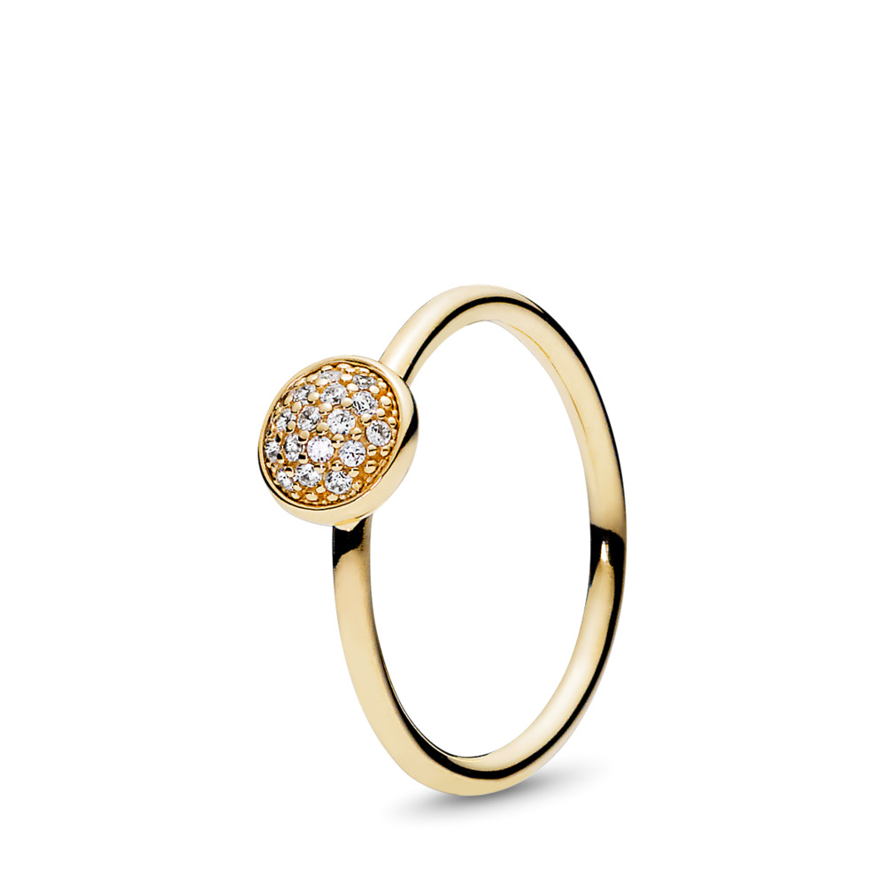 Dazzling Droplet, Clear CZ, Yellow Gold 14 k, Cubic Zirconia - PANDORA - #150187CZ