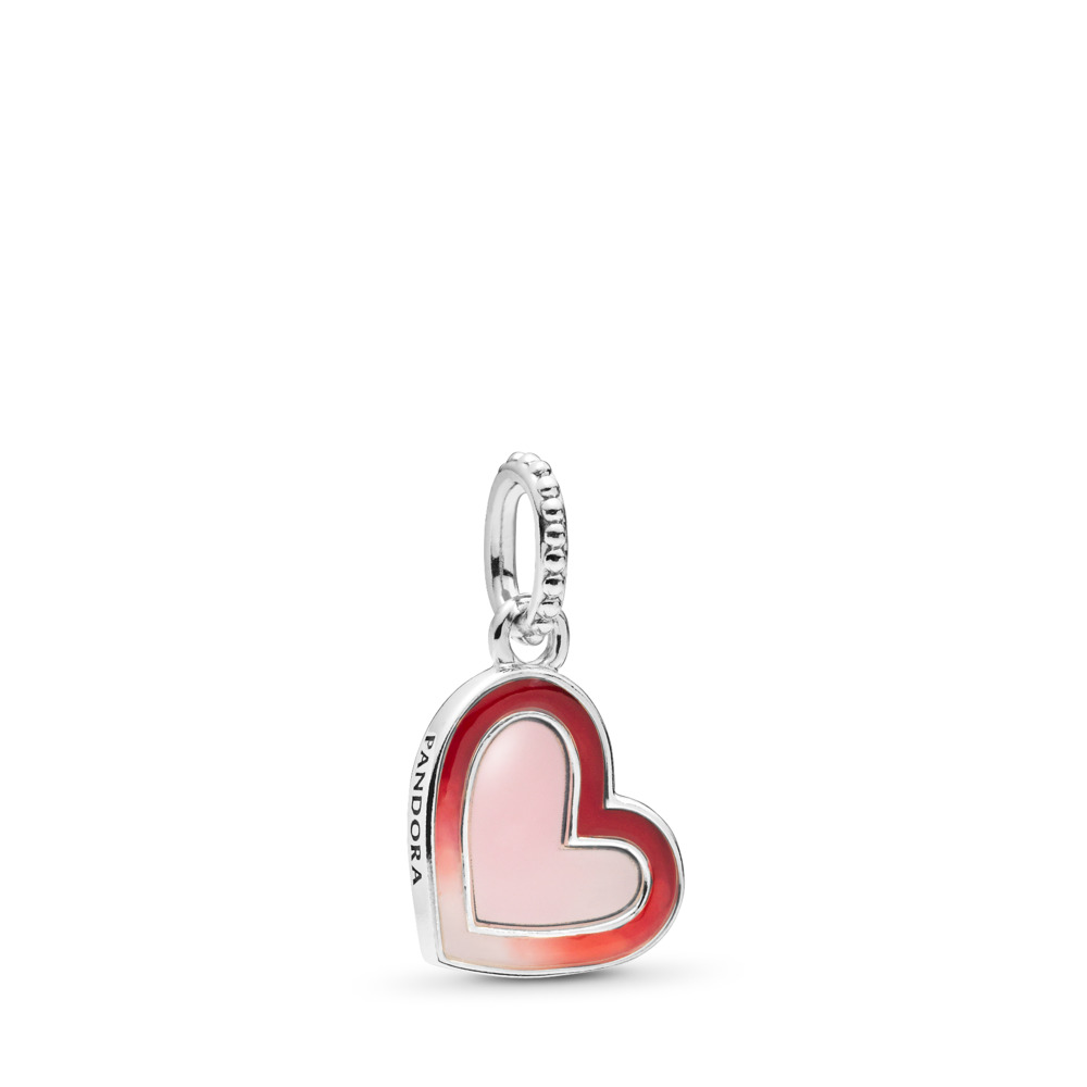 Asymmetric Heart of Love Dangle Charm, Sterling silver, Enamel - PANDORA - #797820ENMX
