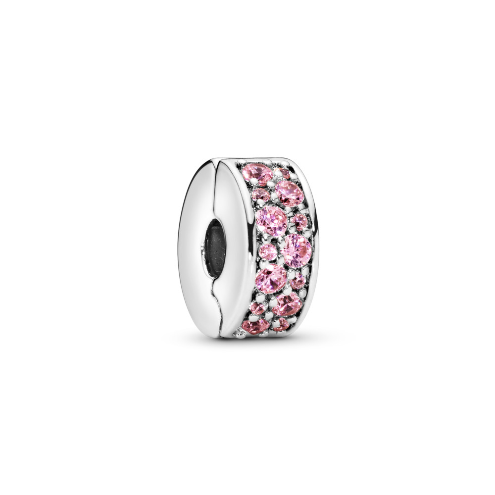Élégance brillante, cz rose poudré, Argent sterling, Silicone, Rose, Zircon cubique - PANDORA - #791817PCZ