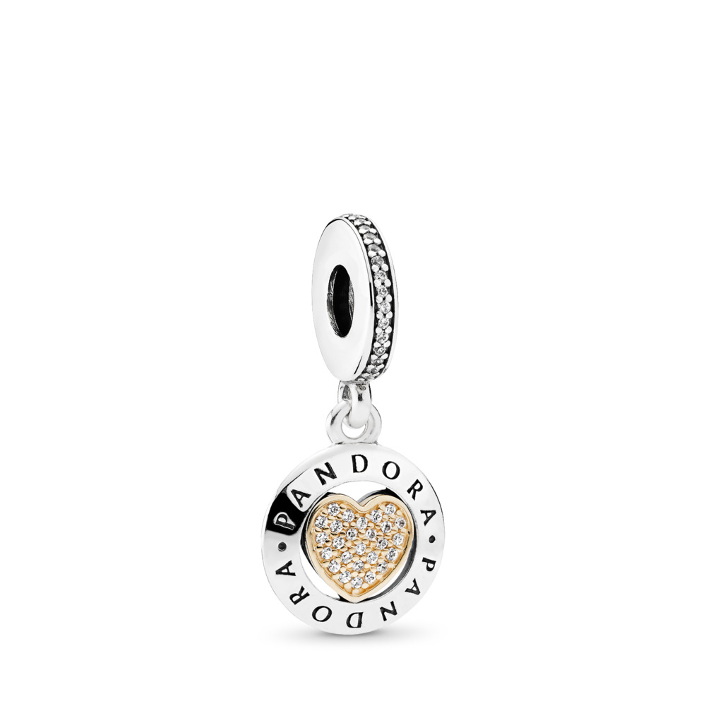 PANDORA Signature Heart, Clear CZ, Two Tone, Cubic Zirconia - PANDORA - #792082CZ
