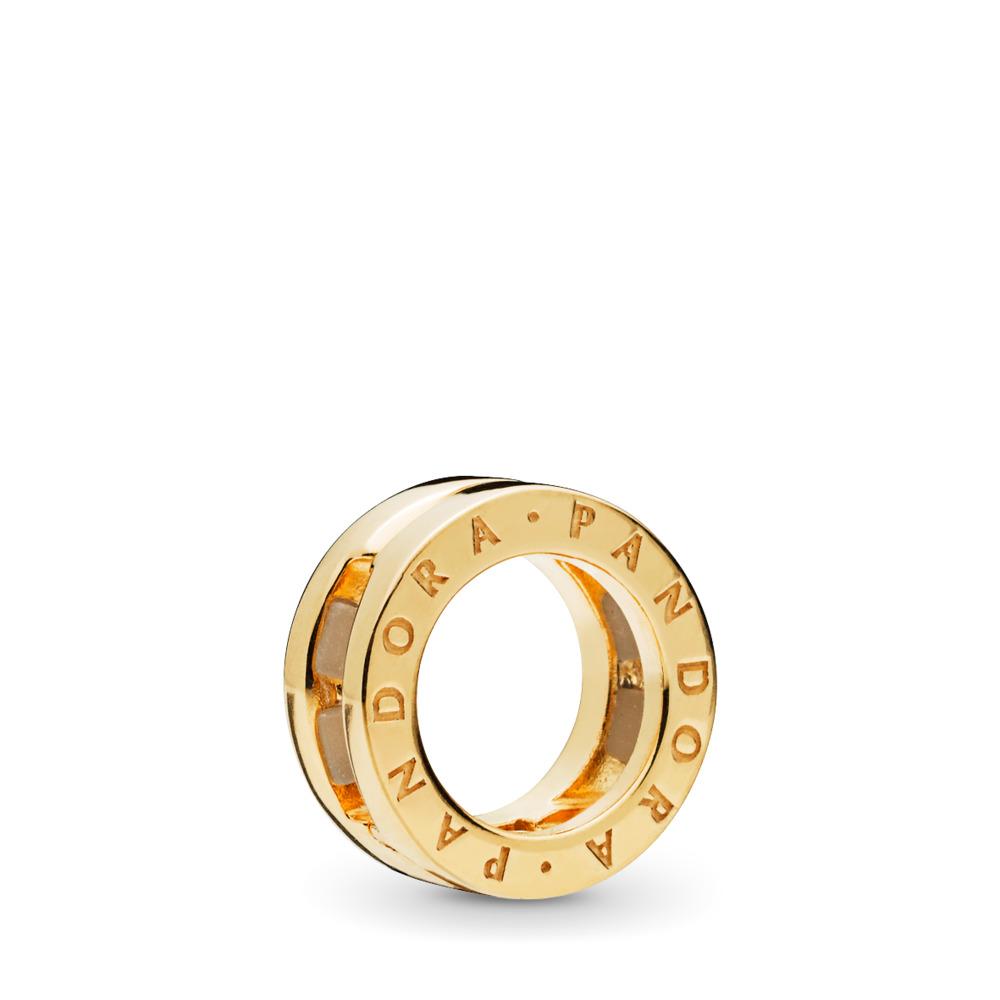 PANDORA Reflexions™ Logo Charm, PANDORA Shine™, 18ct gold-plated sterling silver, Silicone - PANDORA - #767598