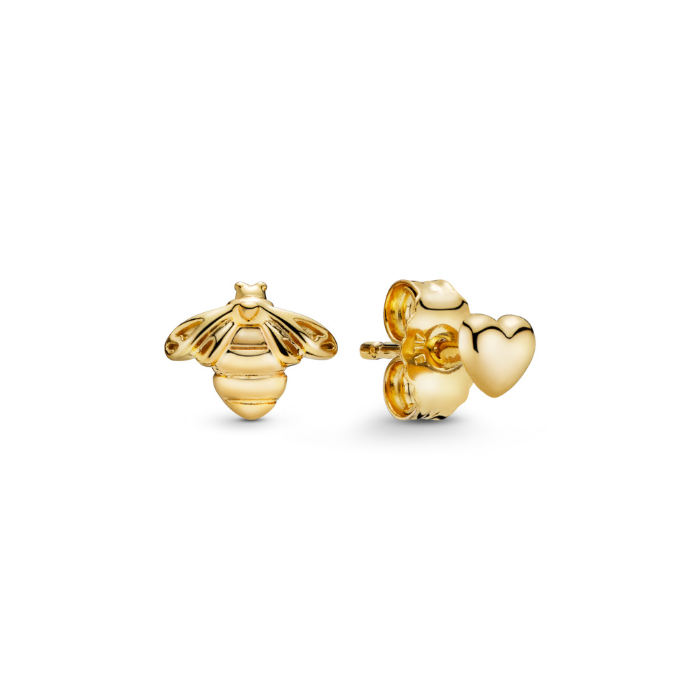 Heart & Bee Stud Earrings, PANDORA Shine™, 18ct gold-plated sterling silver - PANDORA - #267071