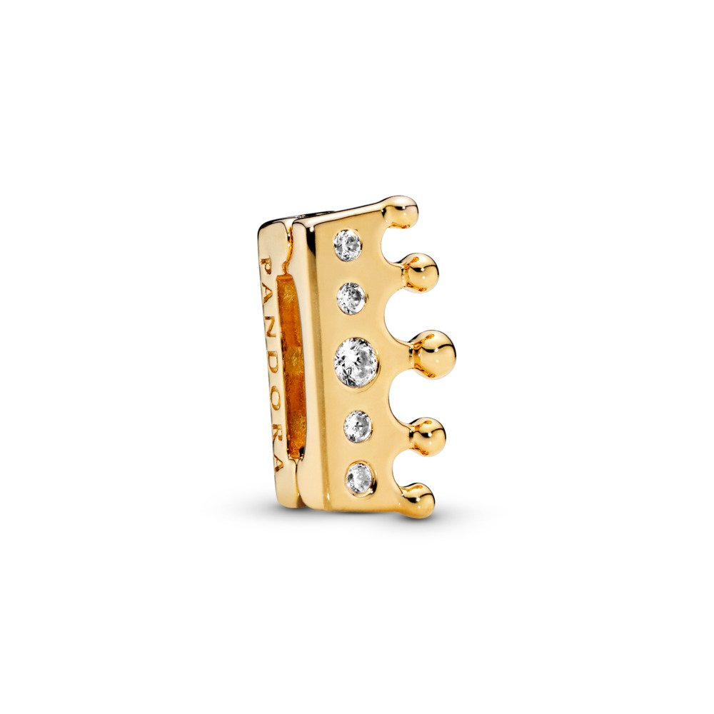 PANDORA Reflexions™ Crown Charm, PANDORA Shine™ & Clear CZ, 18ct gold-plated sterling silver, Silicone, Cubic Zirconia - PANDORA - #767599CZ