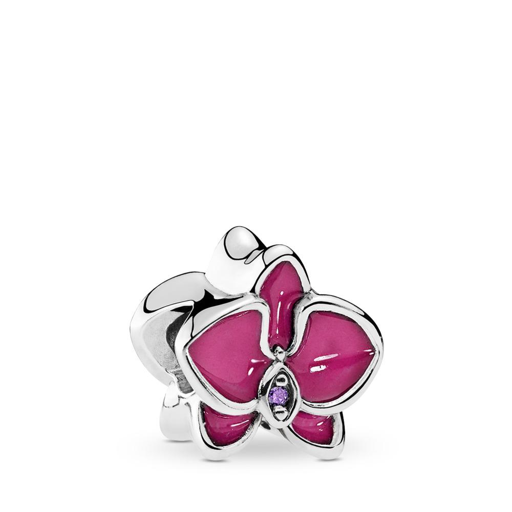 Orchidée, émail orchidée radieuse et cz mauve, Argent sterling, émail, Rose, Zircon cubique - PANDORA - #792074EN69