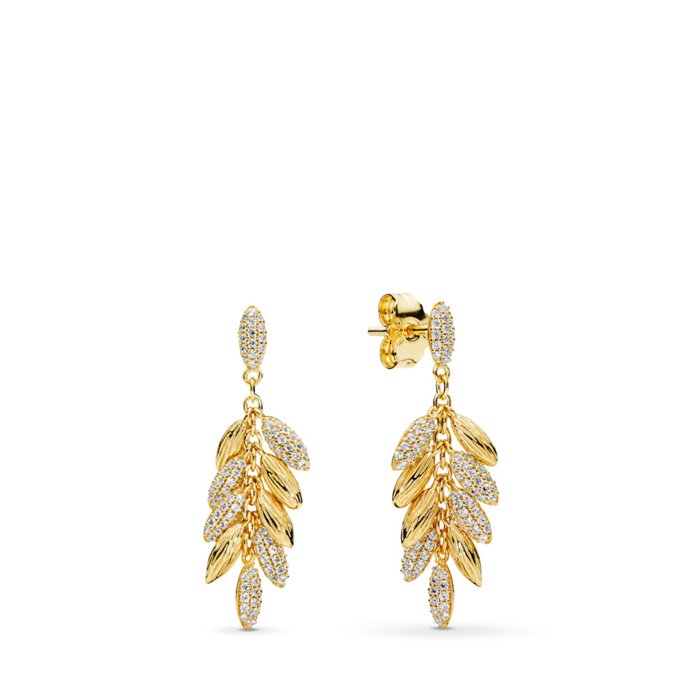 Limited Edition Floating Grains Earrings, PANDORA Shine™ & Clear CZ, 18ct gold-plated sterling silver, Cubic Zirconia - PANDORA - #267674CZ