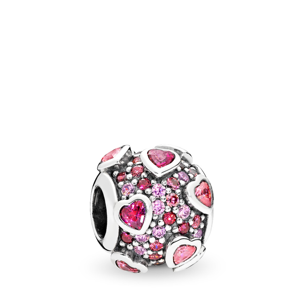 Explosion of Love Charm, Multi-Colored CZ, Sterling silver, Pink, Cubic Zirconia - PANDORA - #796555CZSMX