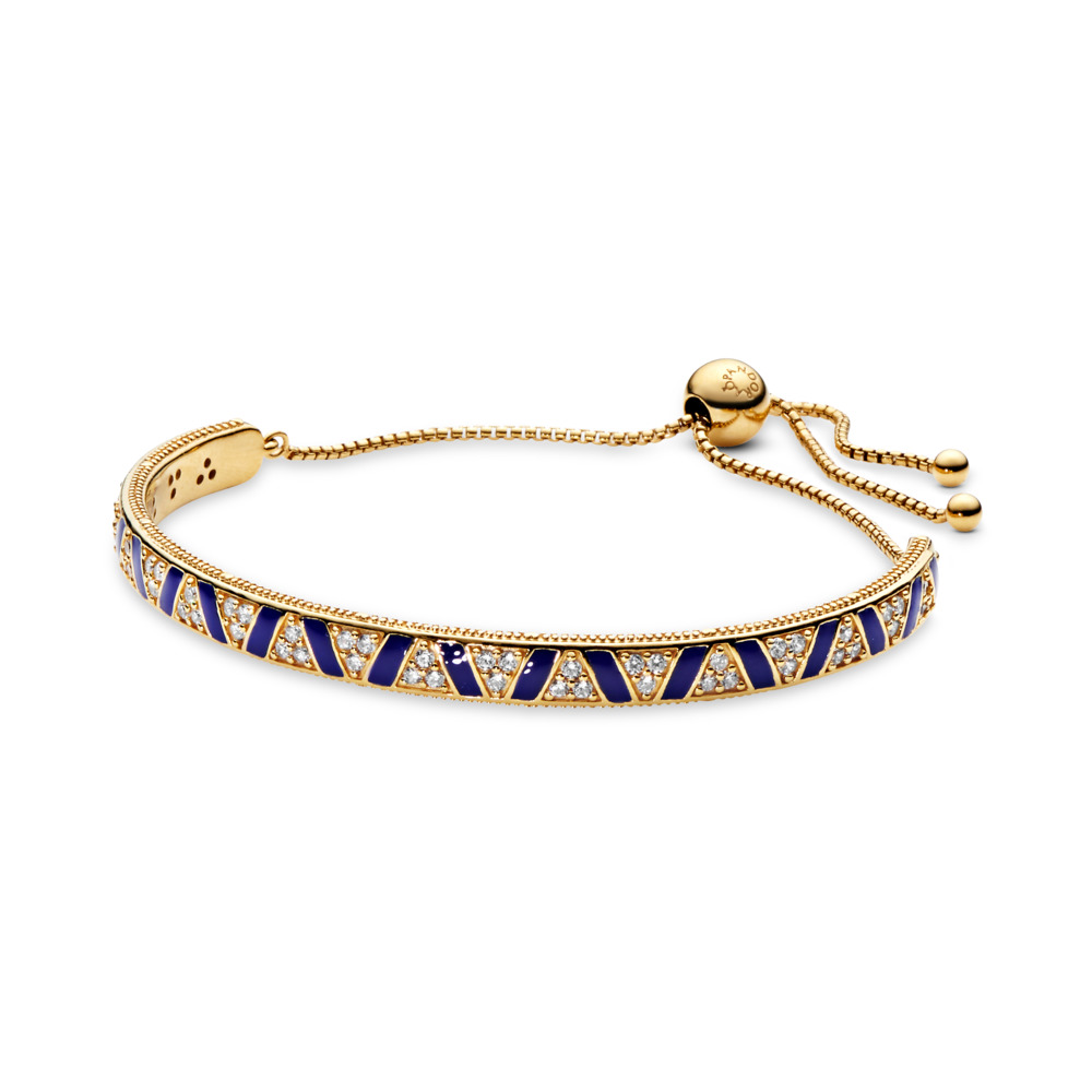 Limited Edition Exotic Stones & Stripes Sliding Bangle, 18ct gold-plated sterling silver, Enamel, Blue, Cubic Zirconia - PANDORA - #568051CZ