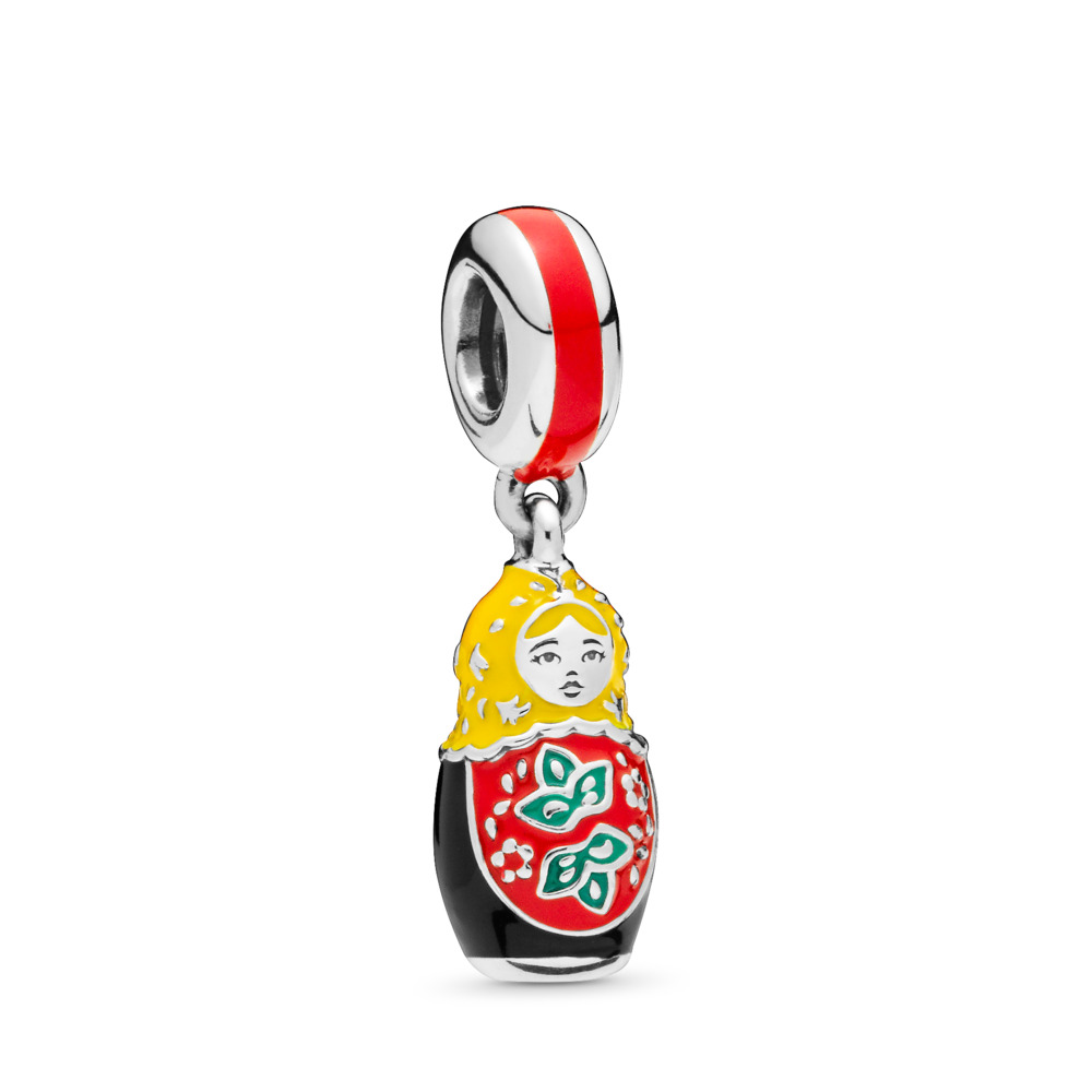 Matryoshka Doll Dangle Charm, Sterling silver, Enamel - PANDORA - #797834ENMX
