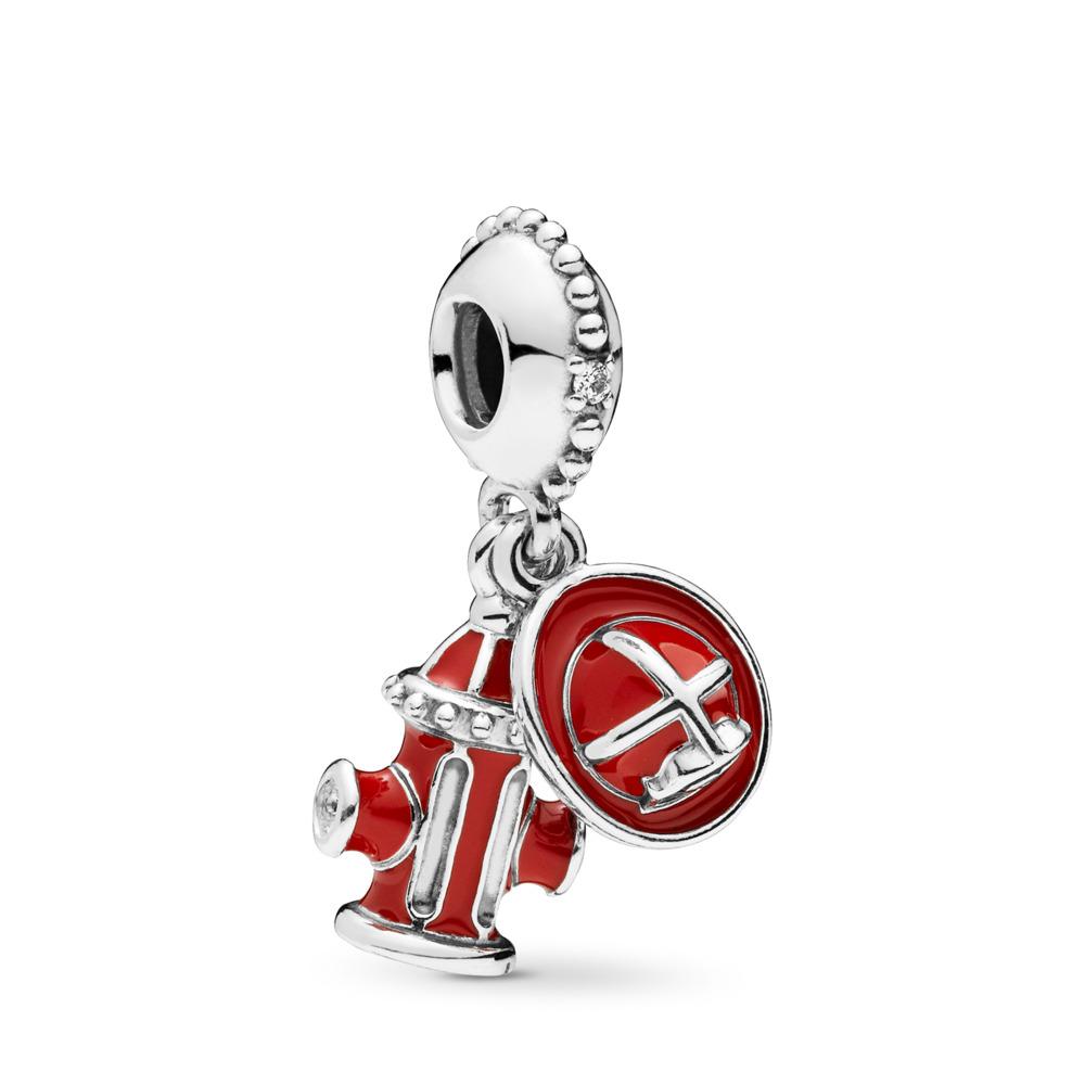 Charm pendentif Les essentiels du pompier, cz incolore et émaux mixtes, Argent sterling, émail, Zircon cubique - PANDORA - #797632ENMX