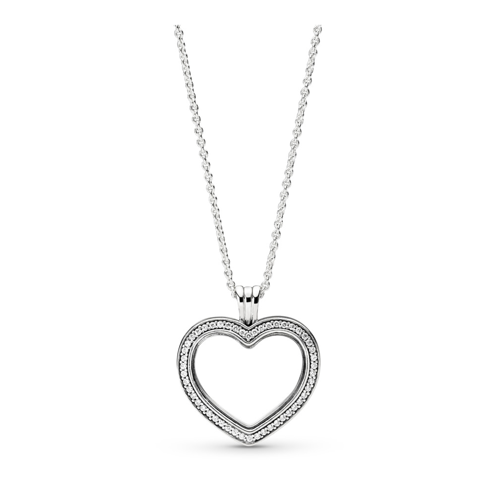 Sparkling PANDORA Floating Heart Locket, Clear CZ, Sterling silver, Glass, Cubic Zirconia - PANDORA - #397230CZ