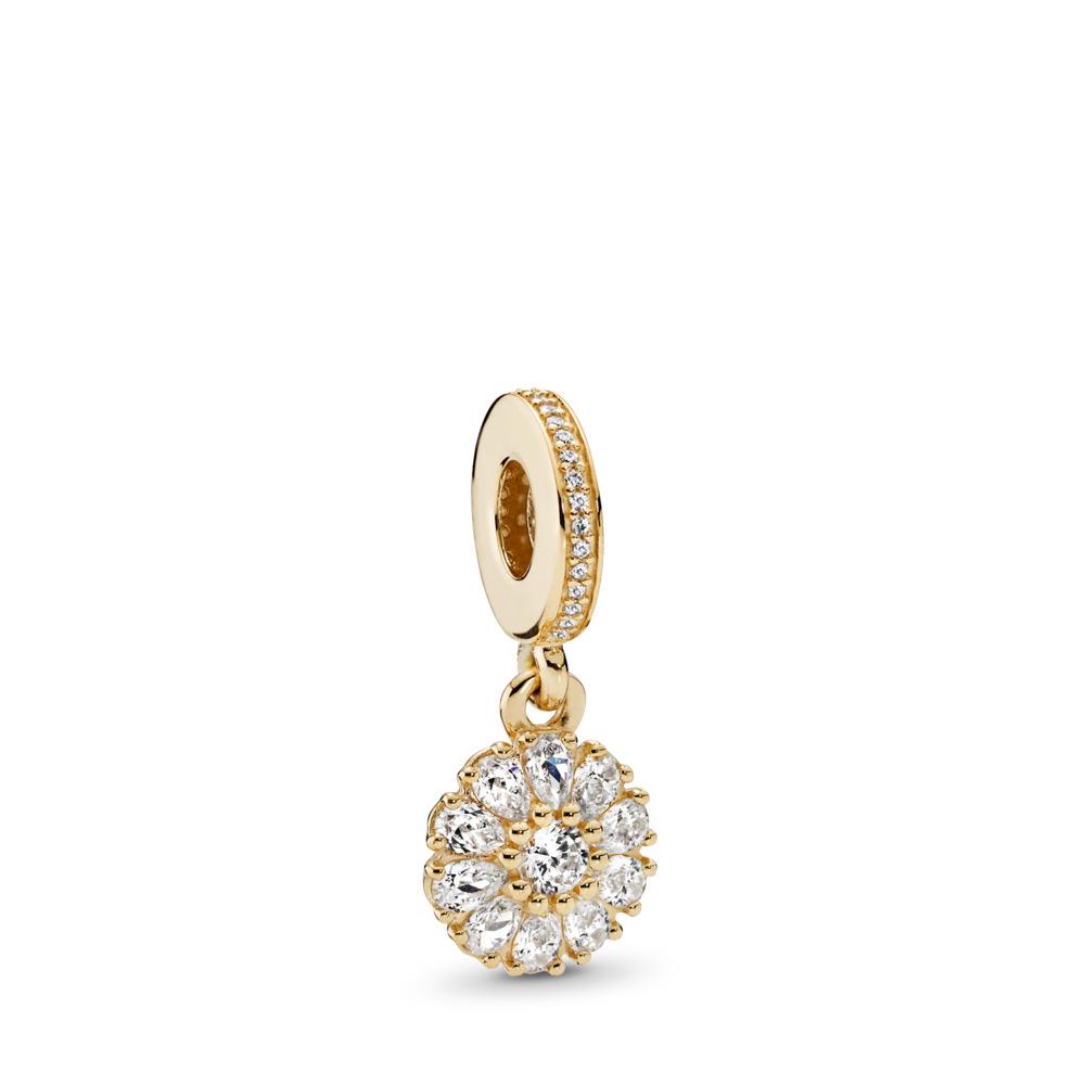 Embellished Floral, Clear CZ, Yellow Gold 14 k, Cubic Zirconia - PANDORA - #751002CZ