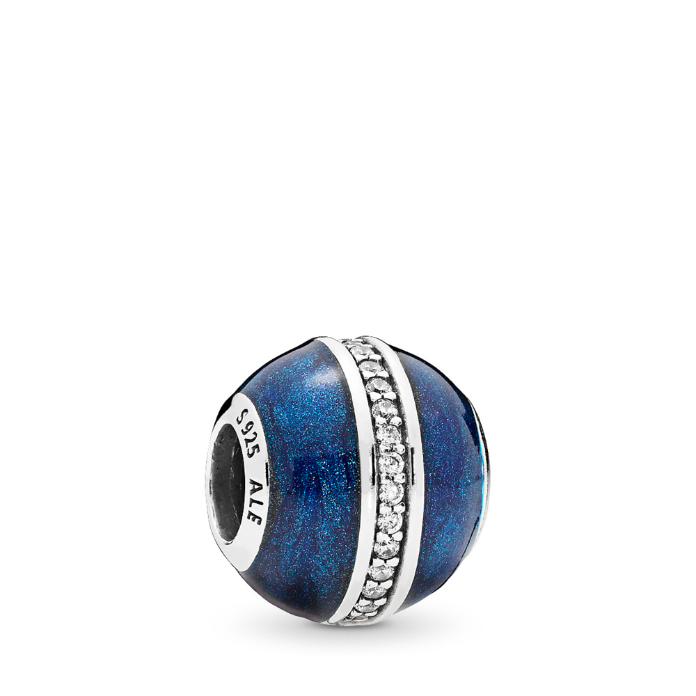 Orbit Charm, Midnight Blue Enamel & Clear CZ, Sterling silver, Enamel, Blue, Cubic Zirconia - PANDORA - #796377EN63