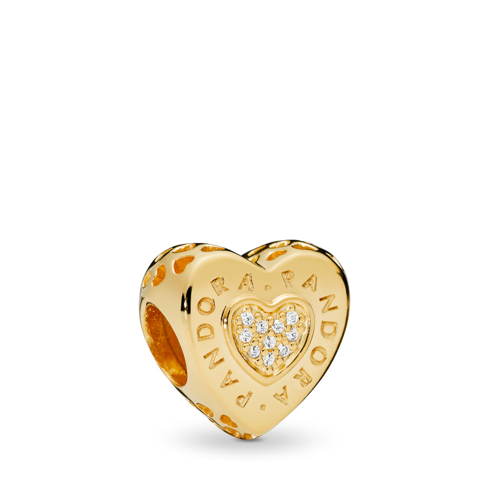 PANDORA Signature Heart Charm, PANDORA Shine™ & Clear CZ, 18ct gold-plated sterling silver, Cubic Zirconia - PANDORA - #767375CZ