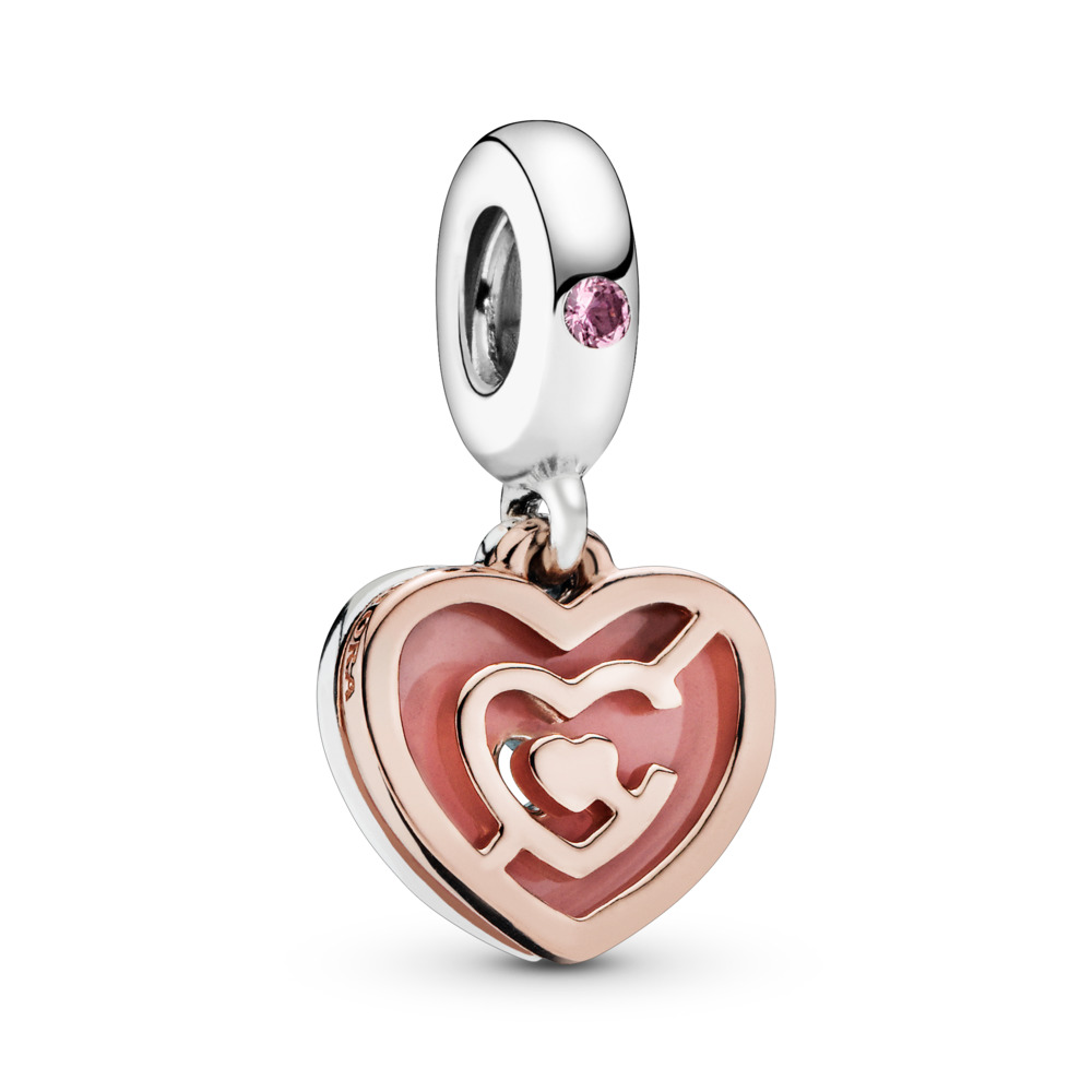 Path to Love Dangle Charm, PANDORA Rose with sterling silver, Enamel, Crystal - PANDORA - #787801NBP