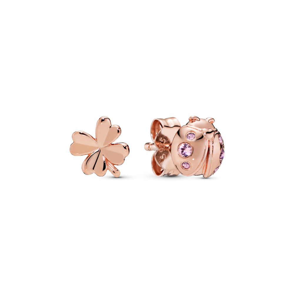 Four-Leaf Clover & Ladybug Earrings, PANDORA Rose, Pink, Crystal - PANDORA - #287960NPO