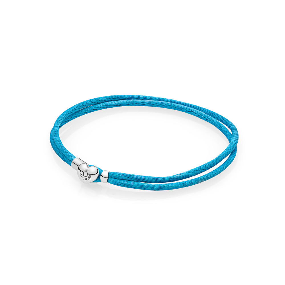 Bracelet-cordonnet en tissu, turquoise, Argent sterling, Textile/ fibres synthétiques, Turquoise, Aucune pierre - PANDORA - #590749CTQ-S