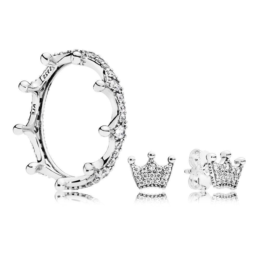 Enchanted Crown Ring and Earrings Set, Sterling Silver - PANDORA - #CS1802