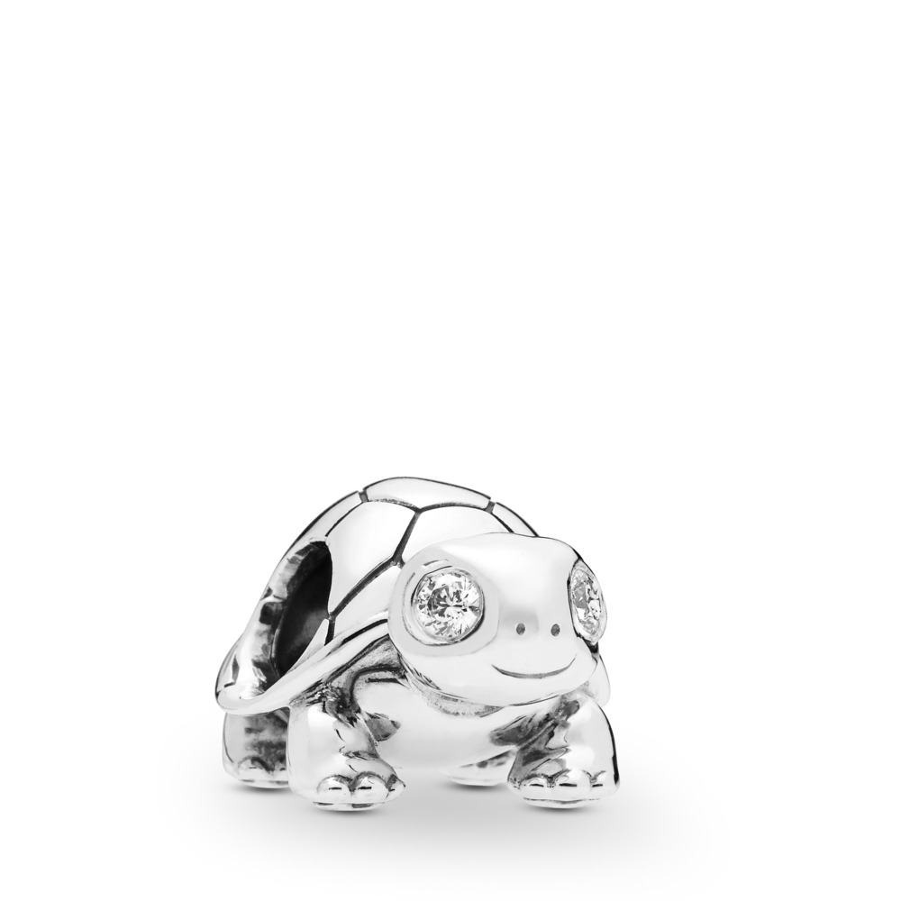 Bright-Eyed Turtle Charm, Sterling silver, Cubic Zirconia - PANDORA - #797878CZ