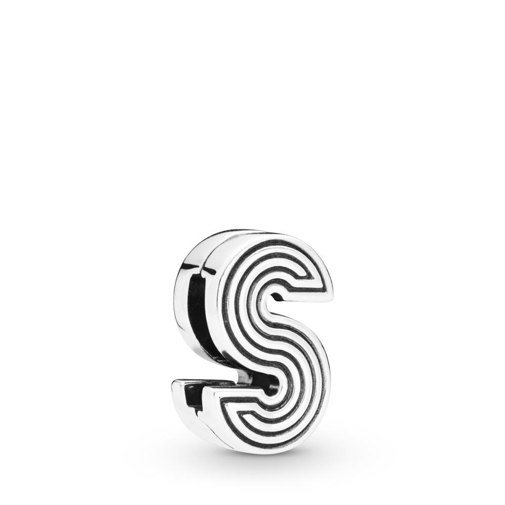 Charm Lettre S Pandora Reflexions, Argent sterling, Silicone, Aucune couleur, Aucune pierre - PANDORA - #798215