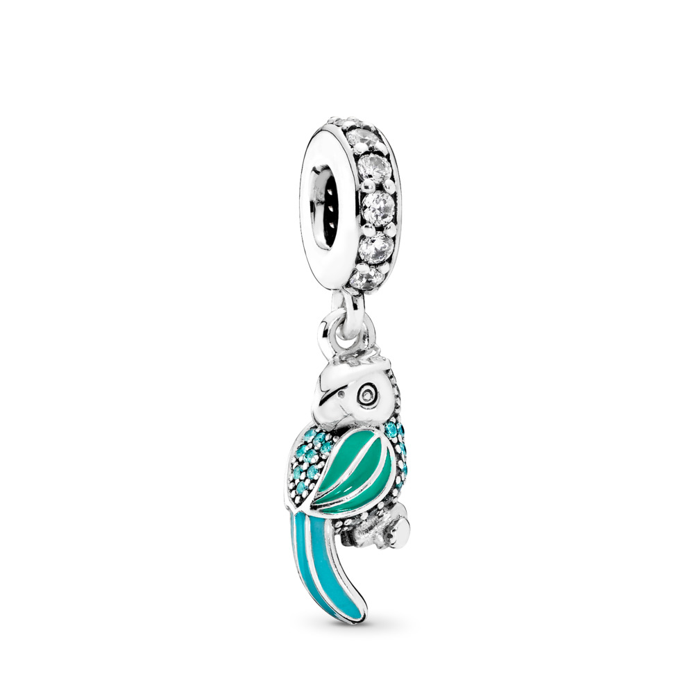 Tropical Parrot, Mixed Enamels, Teal & Clear CZ, Sterling silver, Enamel, Green, Cubic Zirconia - PANDORA - #791903ENMX