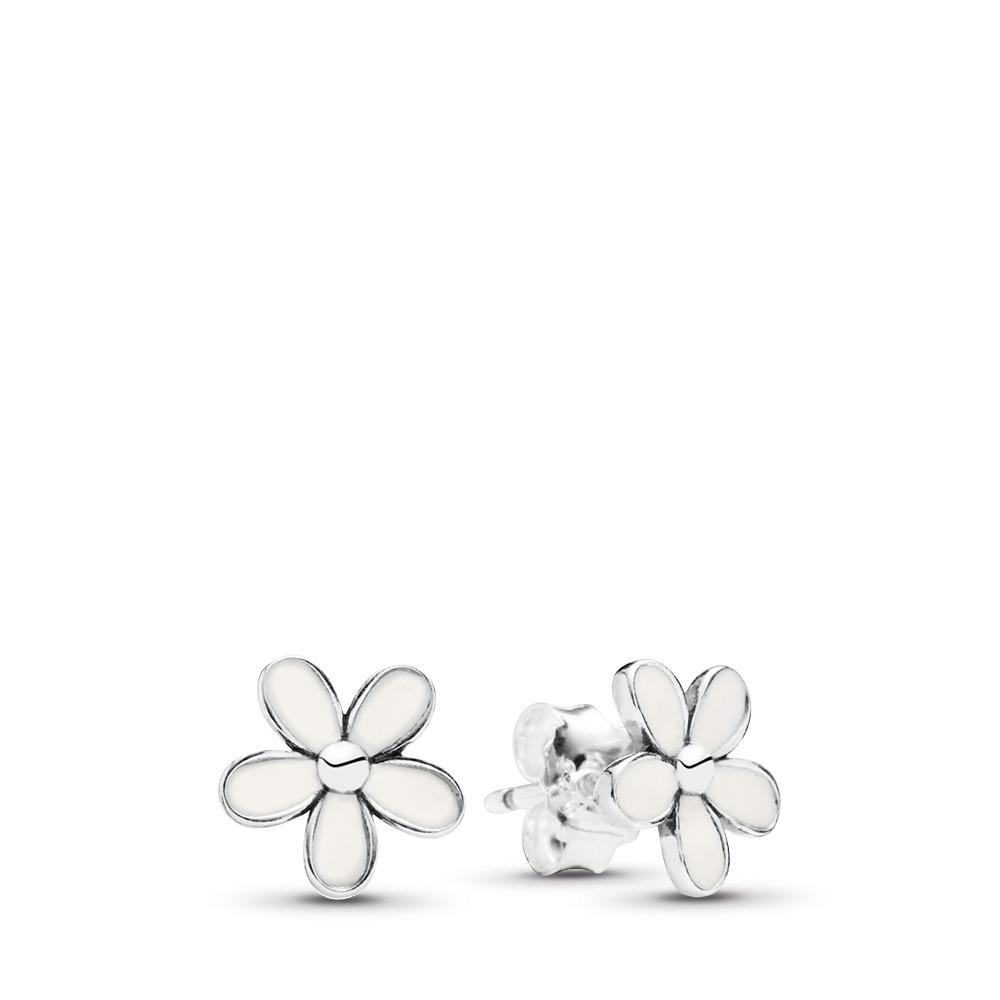 Darling Daisies Stud Earrings, White Enamel, Sterling silver, Enamel, White - PANDORA - #290538EN12