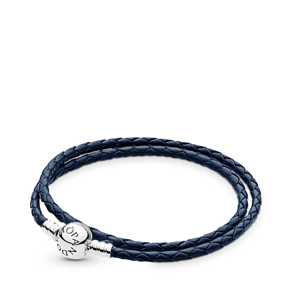 Dark Blue Braided Double-Leather Charm Bracelet, Sterling silver, Leather, Blue - PANDORA - #590745CDB-D