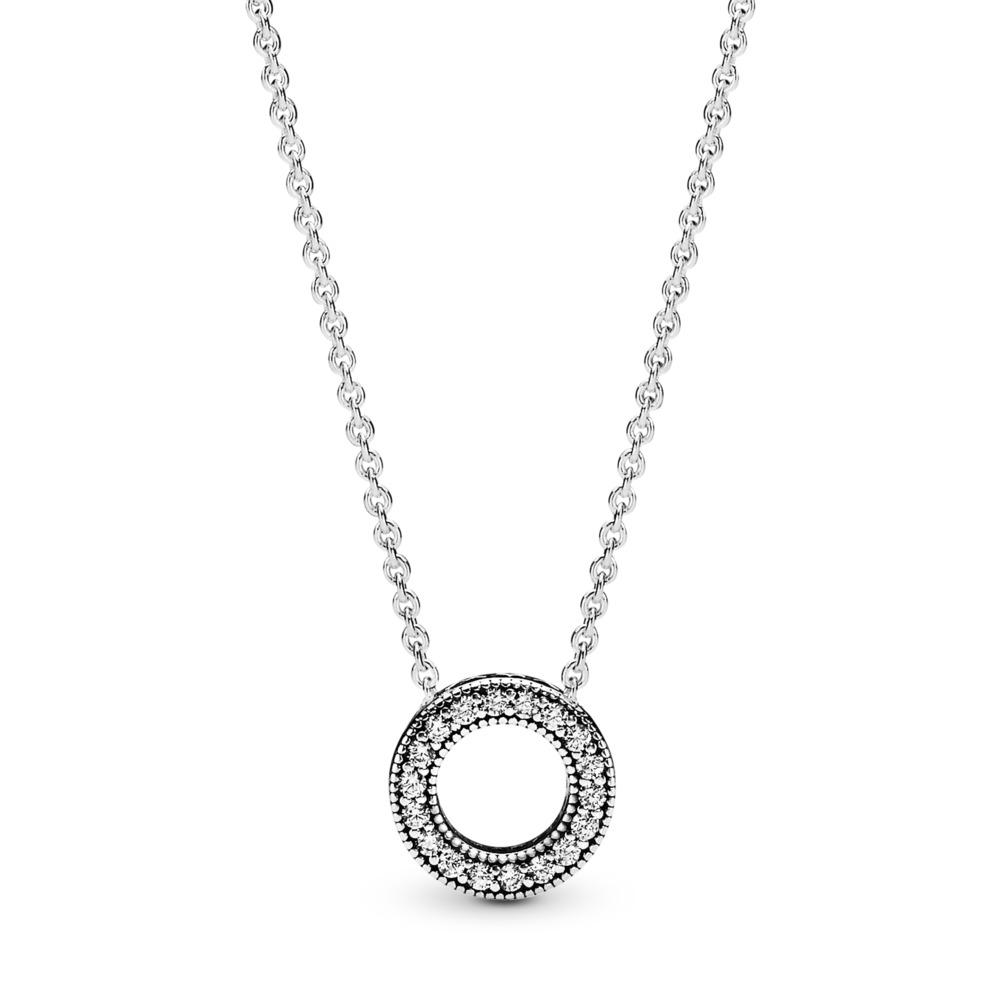Collier Cœurs de PANDORA, cz incolore, Argent sterling, Aucun autre matériel, Aucune couleur, Zircon cubique - PANDORA - #397436CZ-45