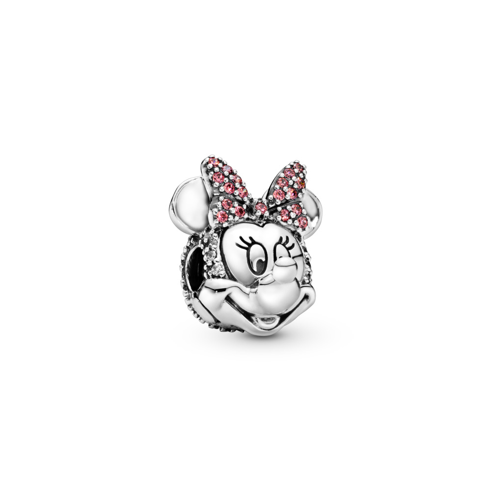 Disney, Shimmering Minnie Portrait Clip, Sterling silver, Red, Cubic Zirconia - PANDORA - #797496CZS