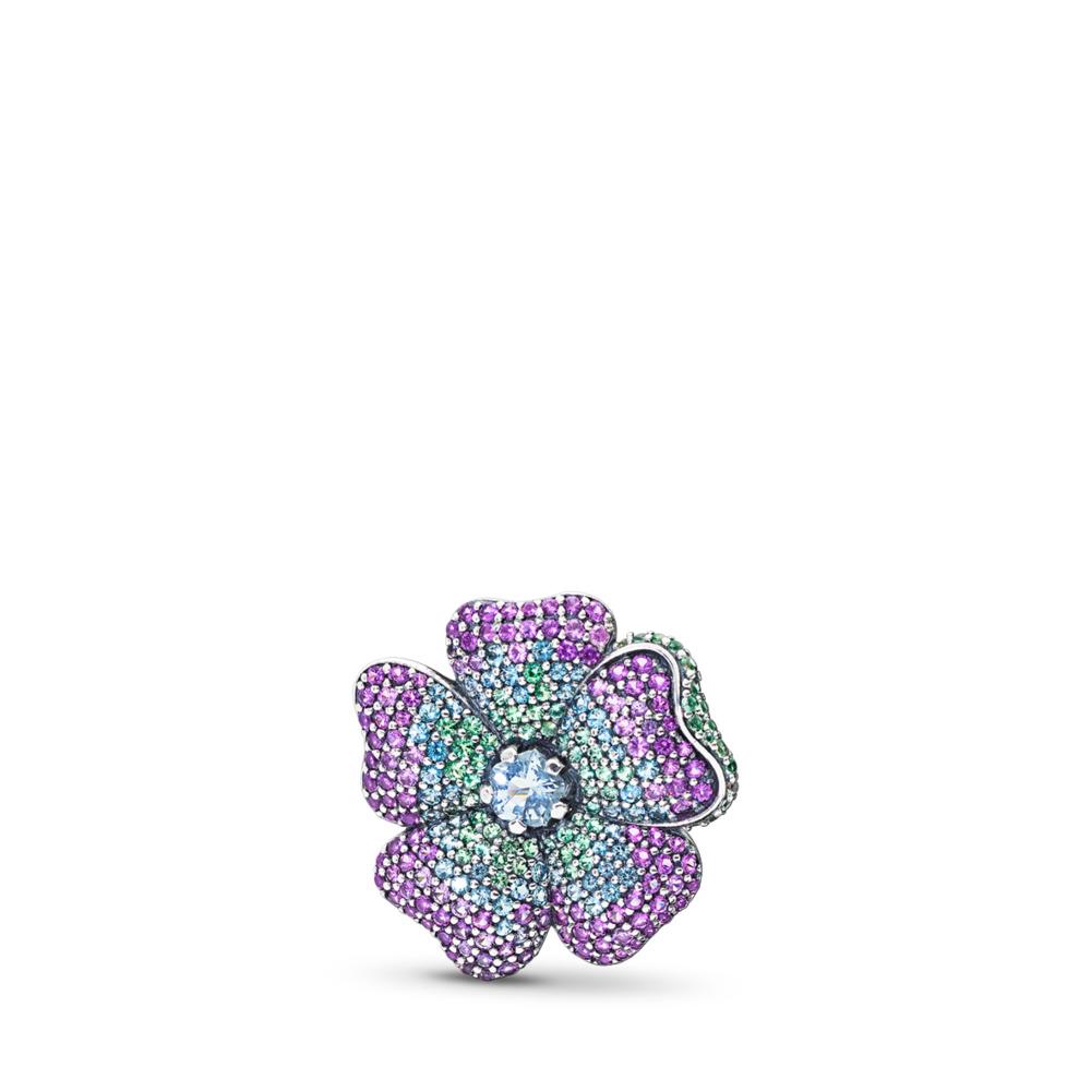 Glorious Bloom Pendant Brooch, Multi-coloured CZ, Sterling silver, Blue, Crystal - PANDORA - #397081NRPMX