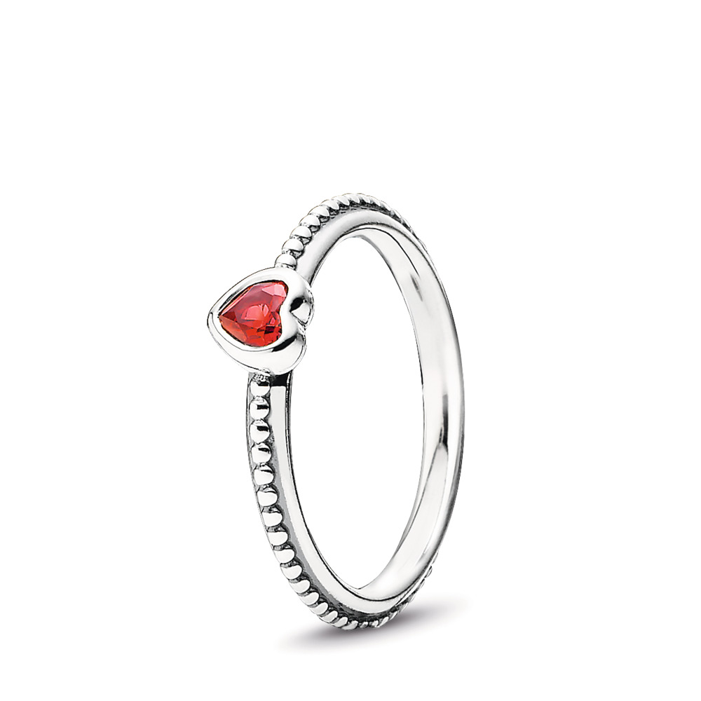 One Love Stackable Ring, Scarlet Synthetic Ruby, Sterling silver, Red, Synthetic Ruby - PANDORA - #190896SGR